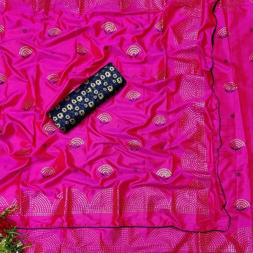 Energetic Pink Colored Festive Wear Woven Two Tone Sana Silk Saree