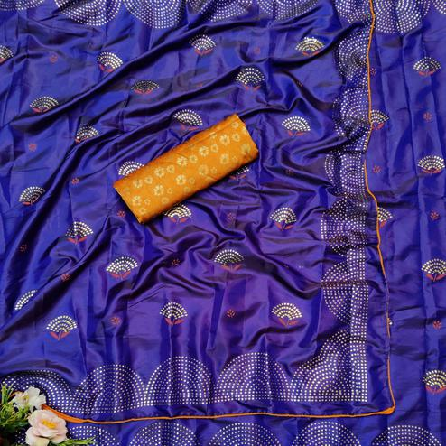 Exceptional Royal Blue Colored Festive Wear Woven Two Tone Sana Silk Saree