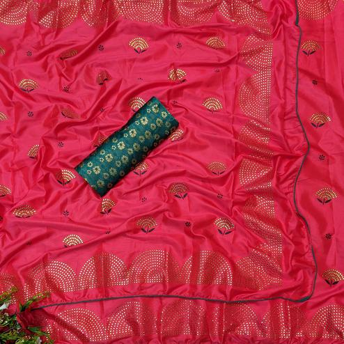 Gleaming Red Colored Festive Wear Woven Two Tone Sana Silk Saree
