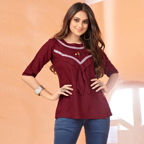 Demanding Maroon Colored Partywear Embroidered Rayon Top