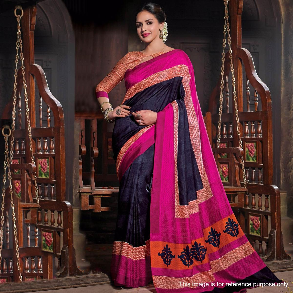 Navy Blue - Pink Printed Saree