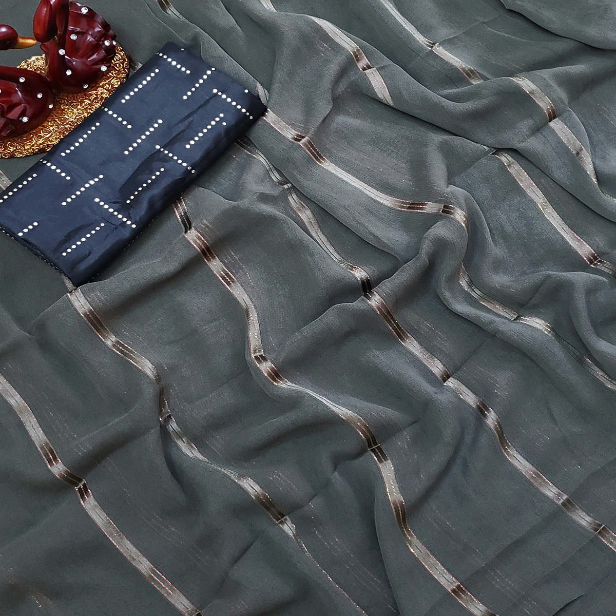 Gleaming Grey Colored Casual Wear Printed Soft Gerogette Saree