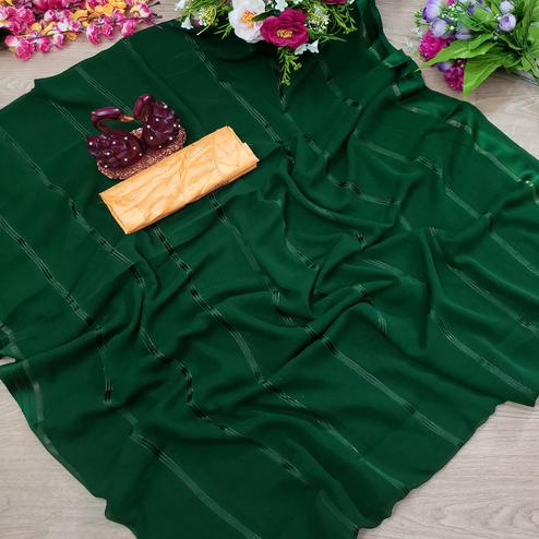 Mesmeric Green Colored Casual Wear Printed Soft Gerogette Saree