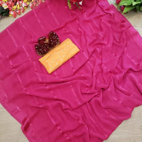 Unique Pink Colored Casual Wear Printed Soft Gerogette Saree