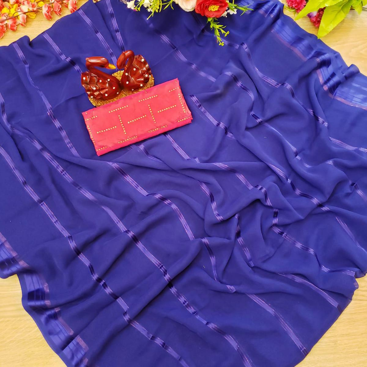 Refreshing Royal Blue Colored Casual Wear Printed Soft Gerogette Saree