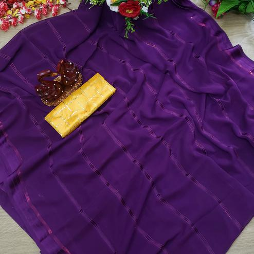 Magnetic Wine Colored Casual Wear Printed Soft Gerogette Saree