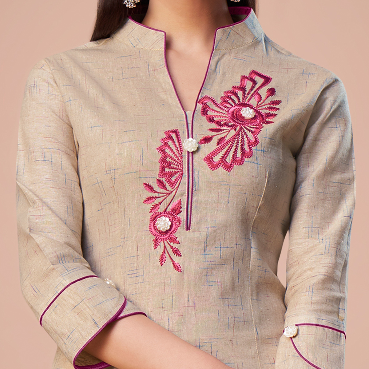 Preferable Beige Colored Partywear Embroidered Cotton Kurti
