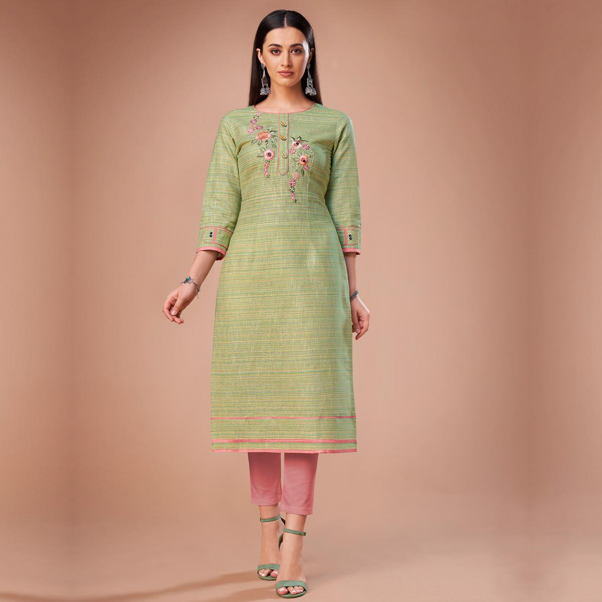 Marvellous Green Colored Partywear Embroidered Cotton Kurti
