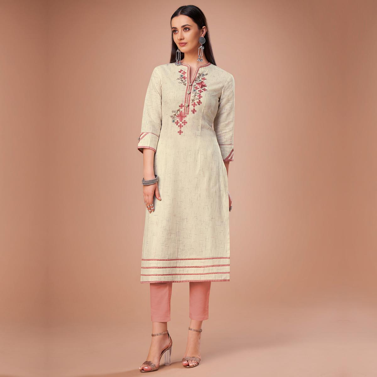 Flamboyant Cream Colored Partywear Embroidered Cotton Kurti