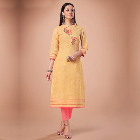 Pretty Yellow Colored Partywear Embroidered Cotton Kurti