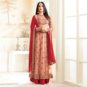 Stylish Peach And Red Partywear Designer Embroidered Abaya Style Anarkali Suit
