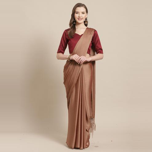 Alluring Brown Colored Casual Wear Printed Poly Georgette Saree