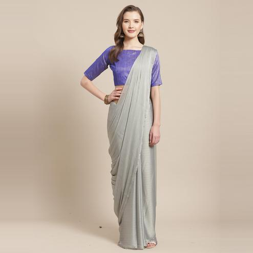 Stunning Grey Colored Casual Wear Printed Poly Georgette Saree