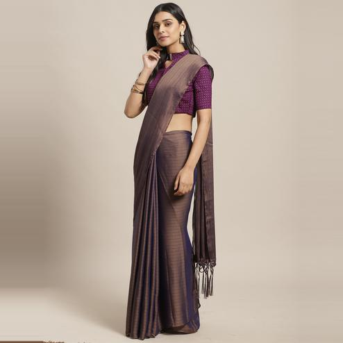 Classy Brown Colored Casual Wear Printed Poly Georgette Saree