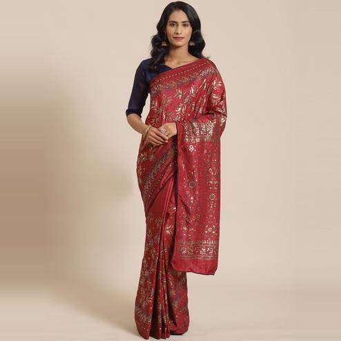 Appealing Maroon Colored Casual Wear Printed Silk Blend Saree