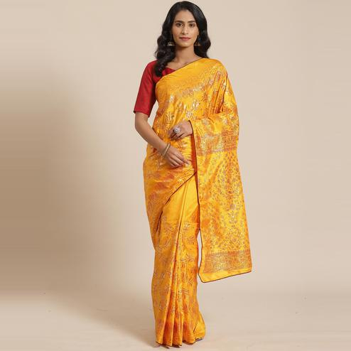 Capricious Mustard Colored Casual Wear Printed Silk Blend Saree