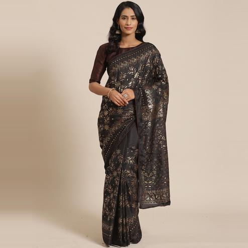 Entrancing Black Colored Casual Wear Printed Silk Blend Saree