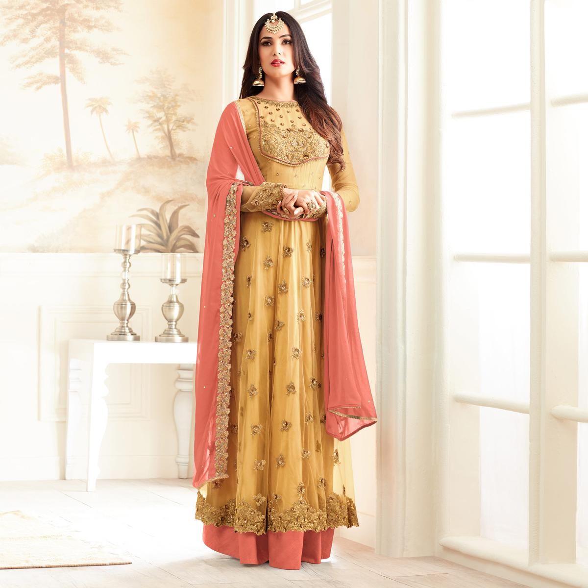 Stylish Yellow And Peach Partywear Designer Embroidered Abaya Style Anarkali Suit