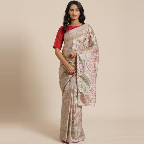 Groovy Grey Colored Casual Wear Printed Silk Blend Saree