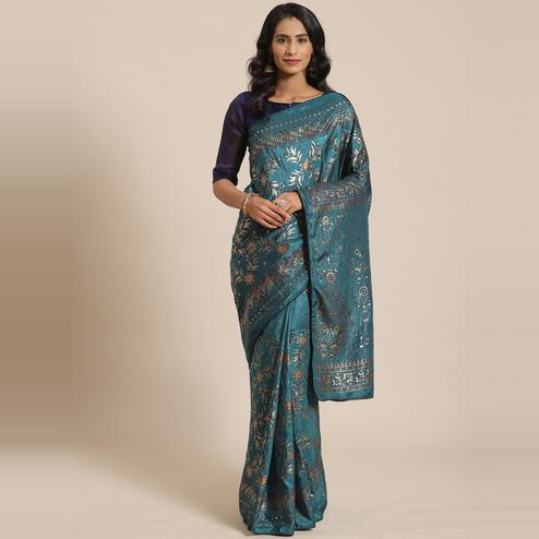 Exclusive Teal Green Colored Casual Wear Printed Silk Blend Saree