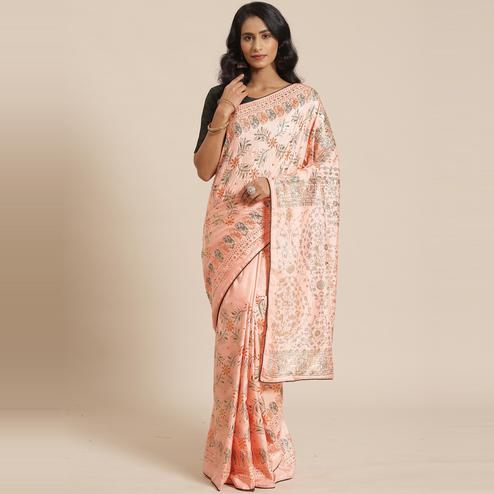 Adorable Peach Colored Casual Wear Printed Silk Blend Saree