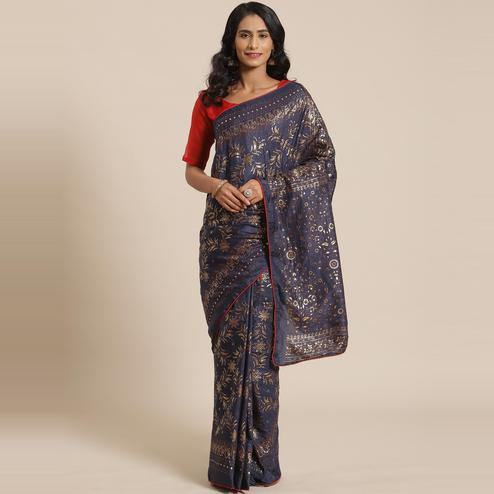 Glorious Navy Blue Colored Casual Wear Printed Silk Blend Saree