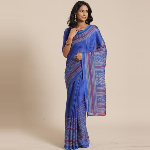 Attractive Blue Colored Casual Wear Printed Jute Silk Saree