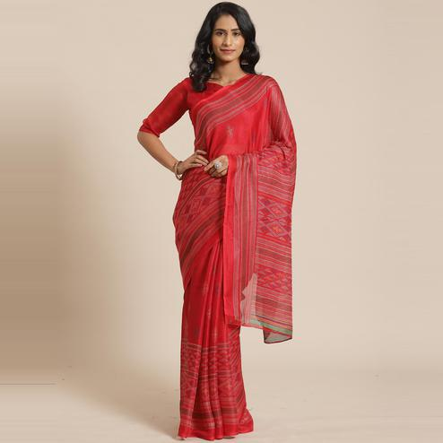 Charming Red Colored Casual Wear Printed Jute Silk Saree