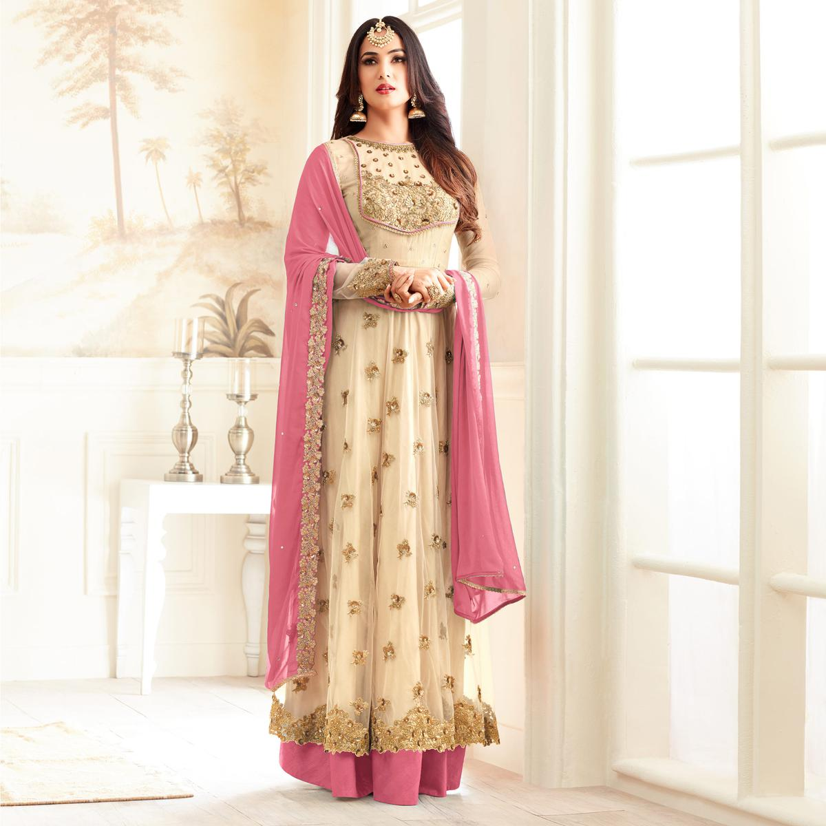 Stylish Cream And Pink Partywear Designer Embroidered Abaya Style Anarkali Suit