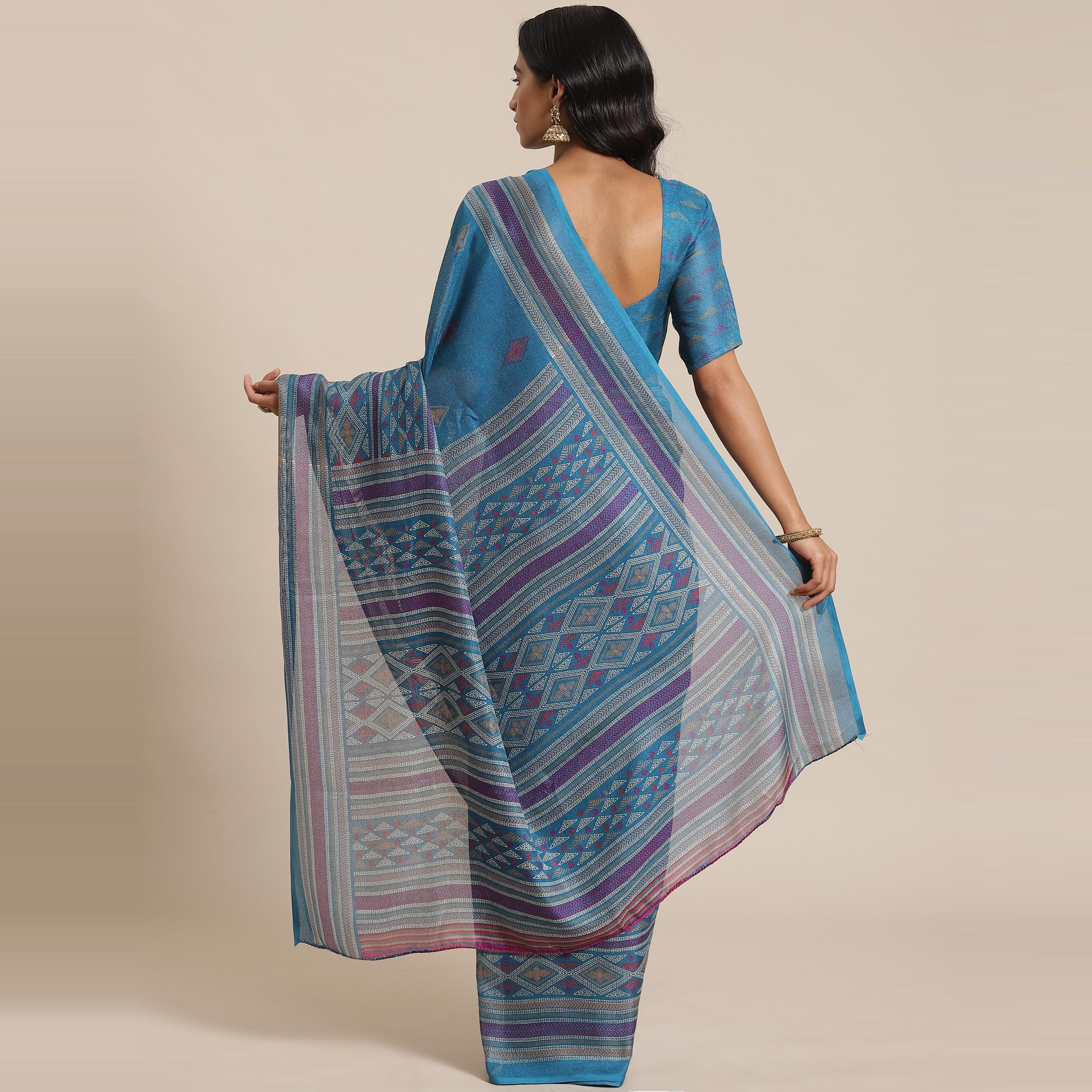 Jazzy Teal Blue Colored Casual Wear Printed Jute Silk Saree