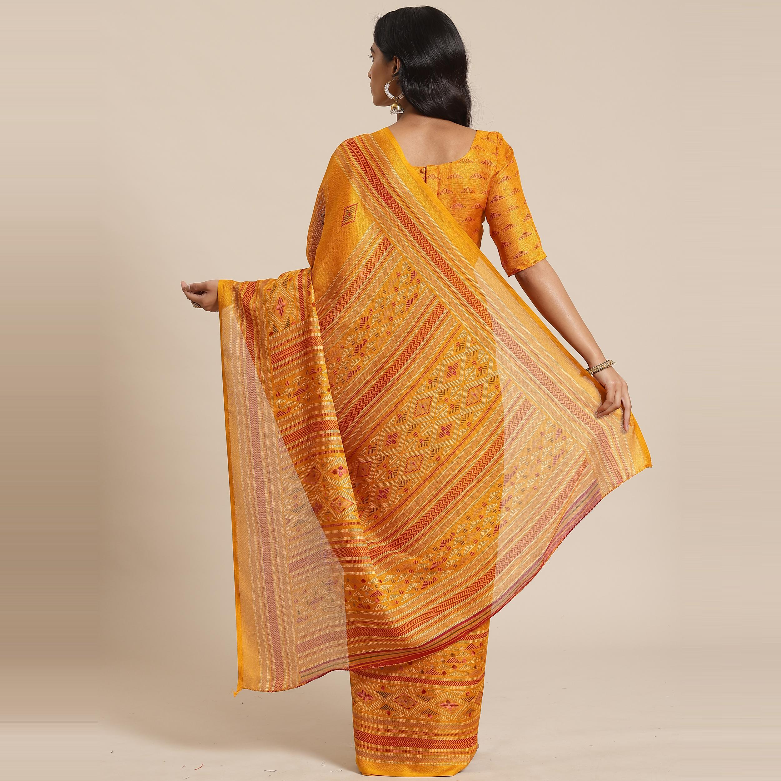 Delightful Mustard Colored Casual Wear Printed Jute Silk Saree
