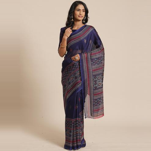 Engrossing Navy Blue Colored Casual Wear Printed Jute Silk Saree