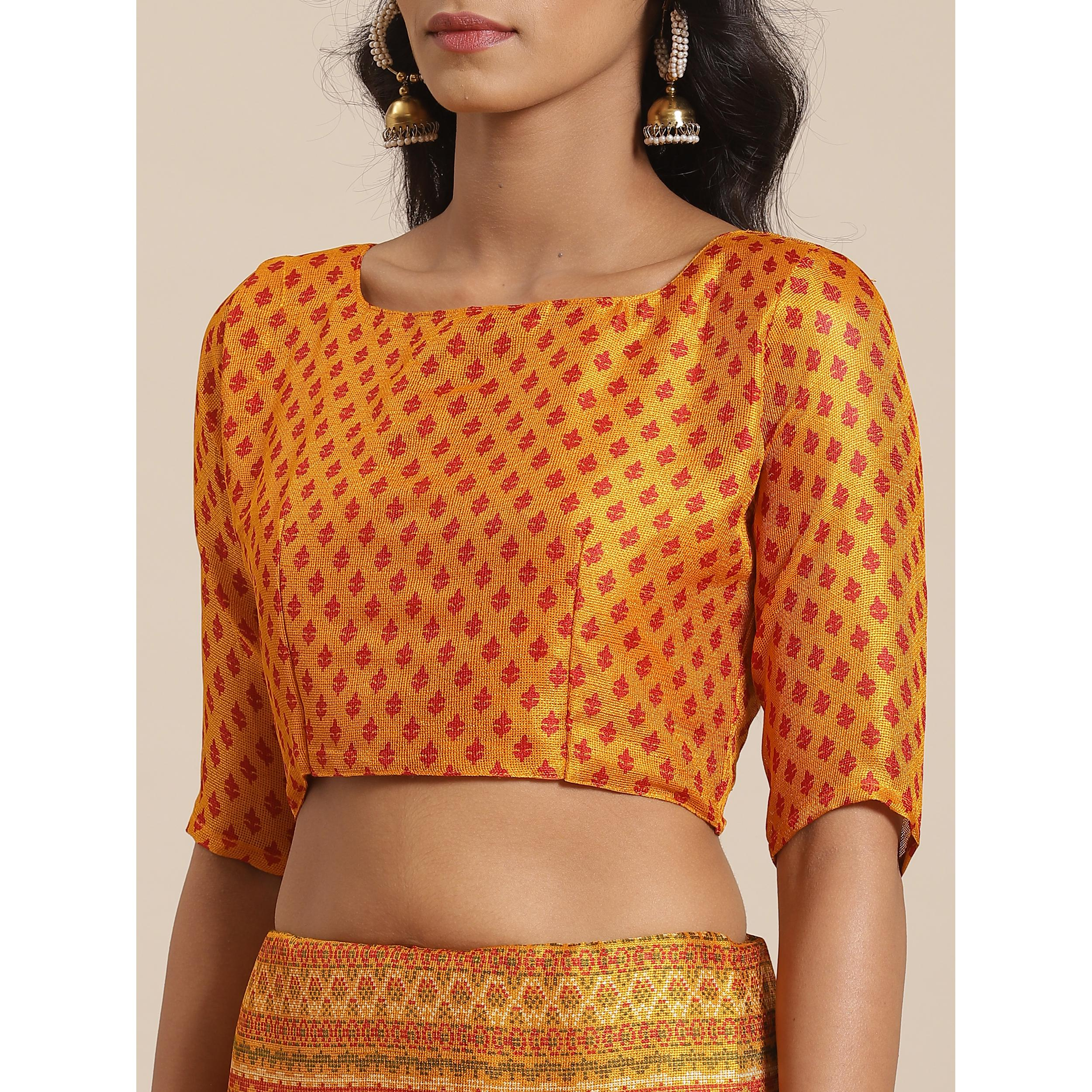 Captivating Mustard Colored Casual Wear Printed Jute Silk Saree