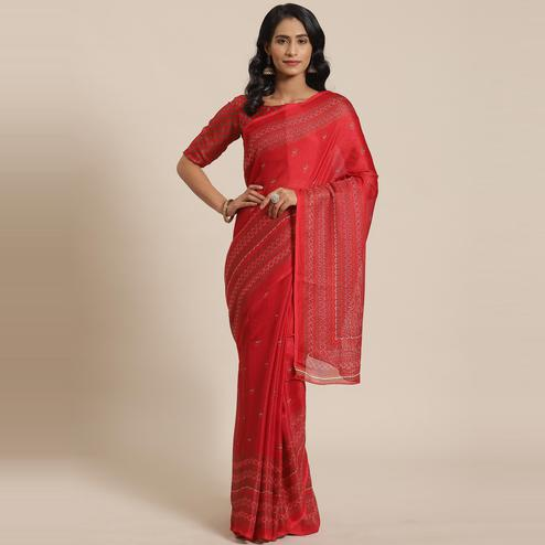 Amazing Red Colored Casual Wear Printed Jute Silk Saree