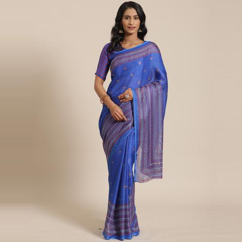 Gorgeous Blue Colored Casual Wear Printed Jute Silk Saree