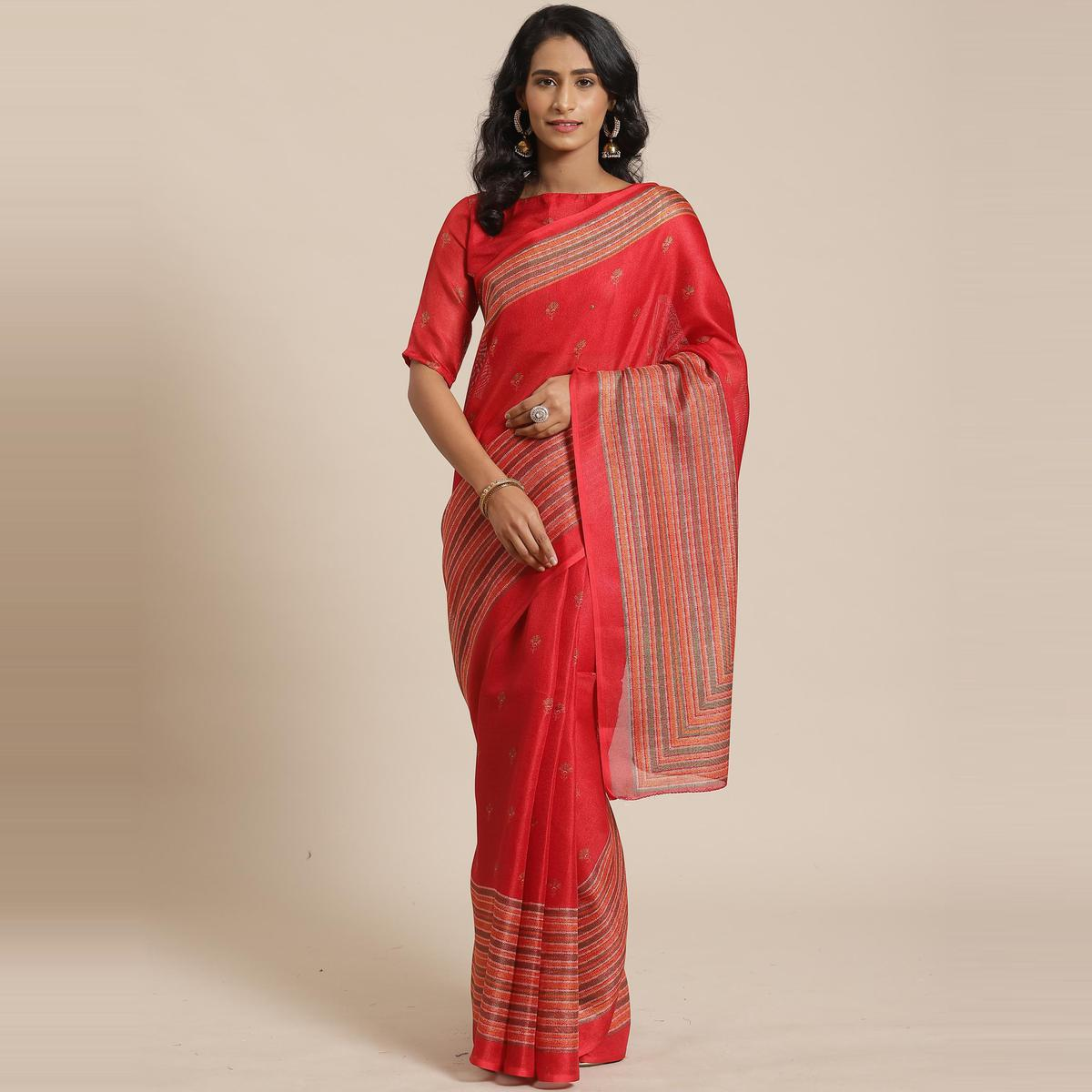 Blissful Red Colored Casual Wear Printed Jute Silk Saree