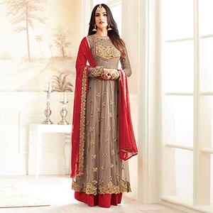 Stylish Chiku And Red Partywear Designer Embroidered Abaya Style Anarkali Suit