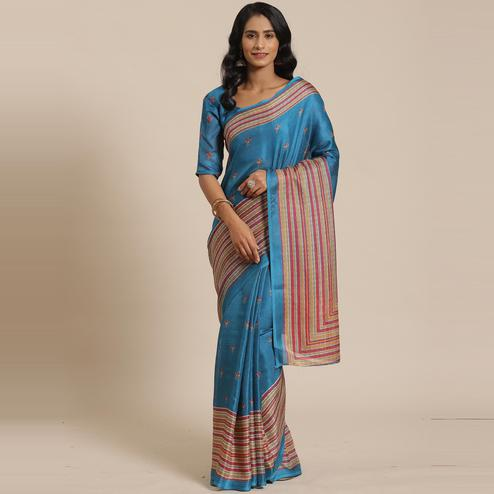 Ideal Teal Blue Colored Casual Wear Printed Jute Silk Saree