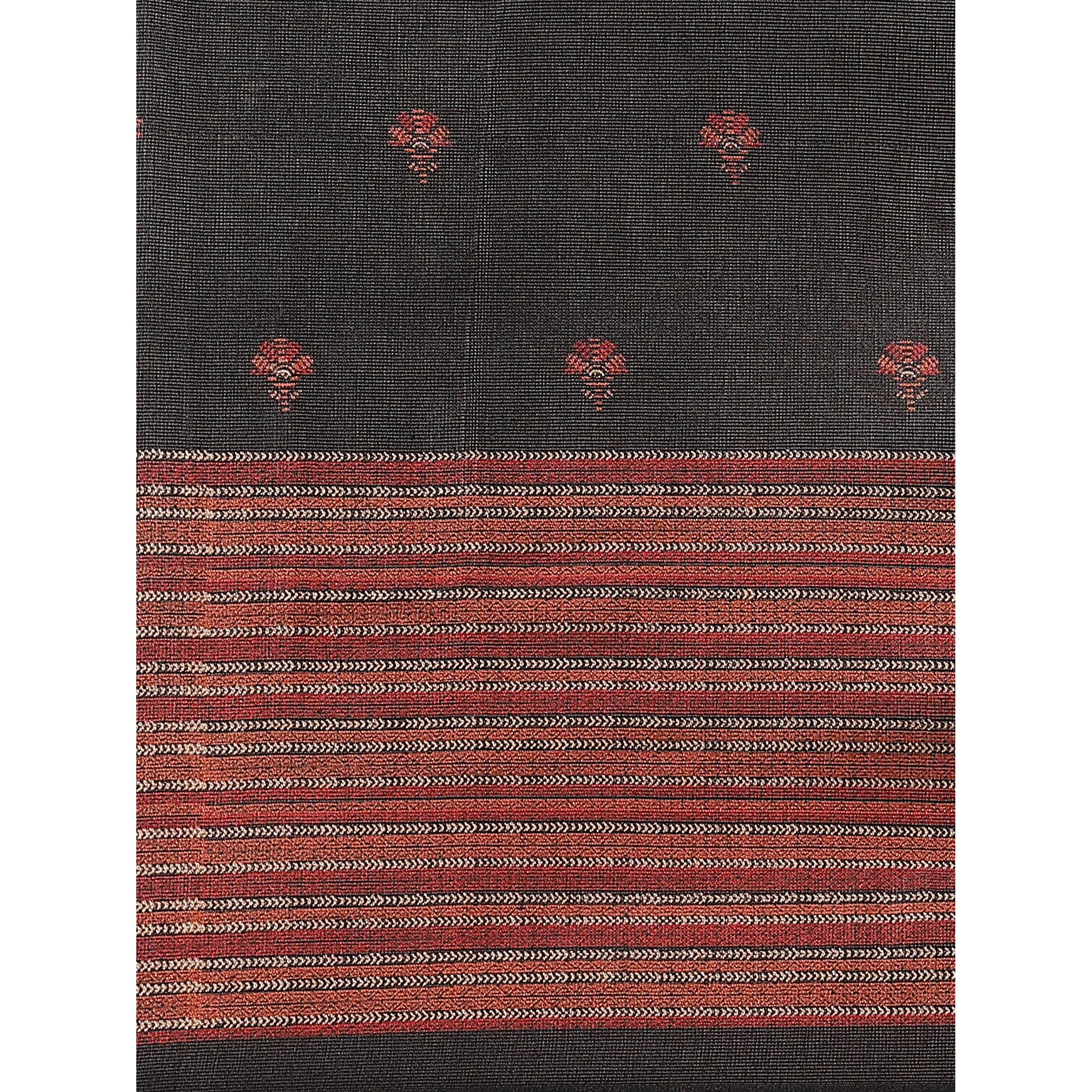Majesty Black Colored Casual Wear Printed Jute Silk Saree