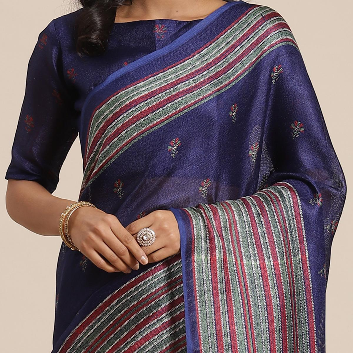 Impressive Navy Blue Colored Casual Wear Printed Jute Silk Saree
