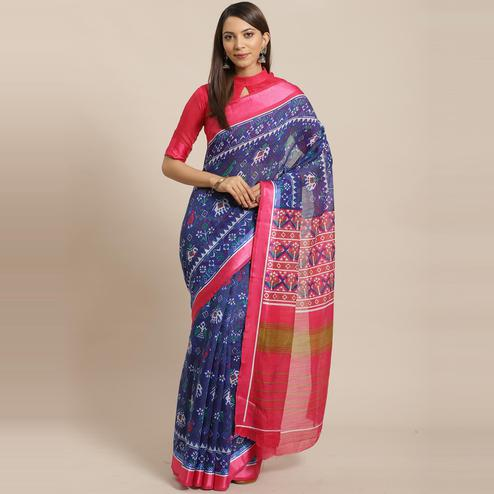 Mesmerising Blue Colored Casual Wear Printed Linen blend Saree