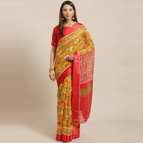 Breathtaking Mustard Colored Casual Wear Printed Linen blend Saree
