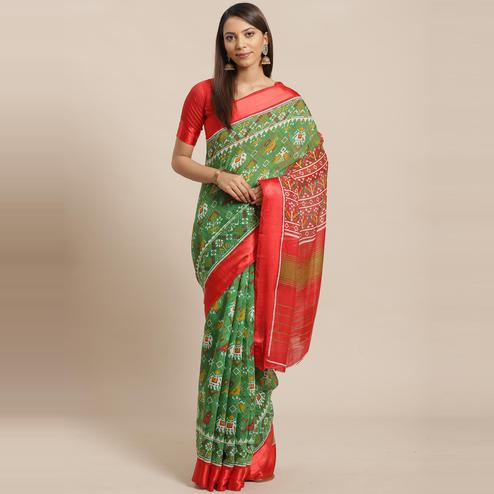 Ethnic Green Colored Casual Wear Printed Linen blend Saree
