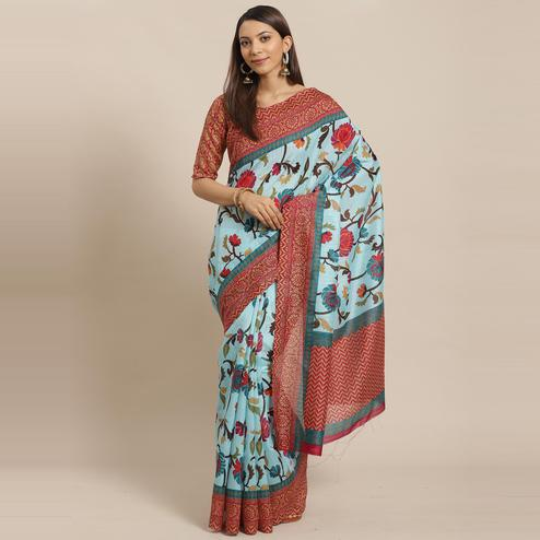 Ravishing Sky Blue Colored Casual Wear Printed Silk blend Saree