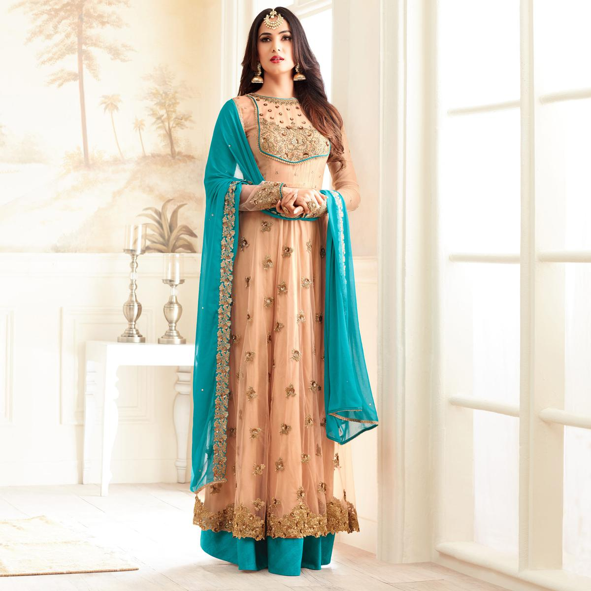 Stylish Beige And Firozi Partywear Designer Embroidered Abaya Style Anarkali Suit