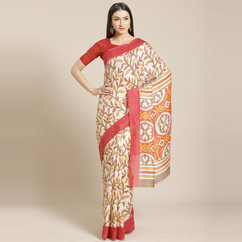 Staring Cream - Pink Colored Casual Wear Printed Silk blend Saree