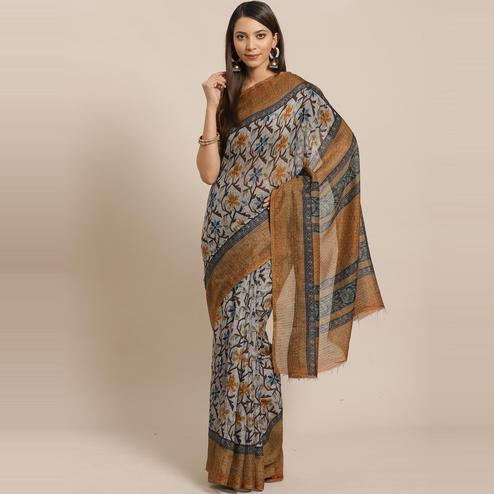 Dazzling Grey - Mustard Colored Casual Wear Printed Silk blend Saree