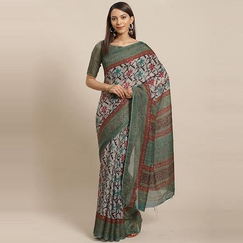 Surpassing Grey - Green Colored Casual Wear Printed Silk blend Saree