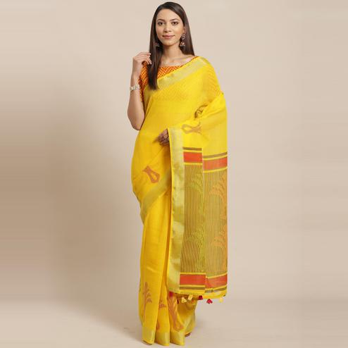 Sophisticated Yellow Colored Casual Wear Printed Linen Saree