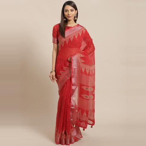 Trendy Red Colored Casual Wear Printed Linen Saree